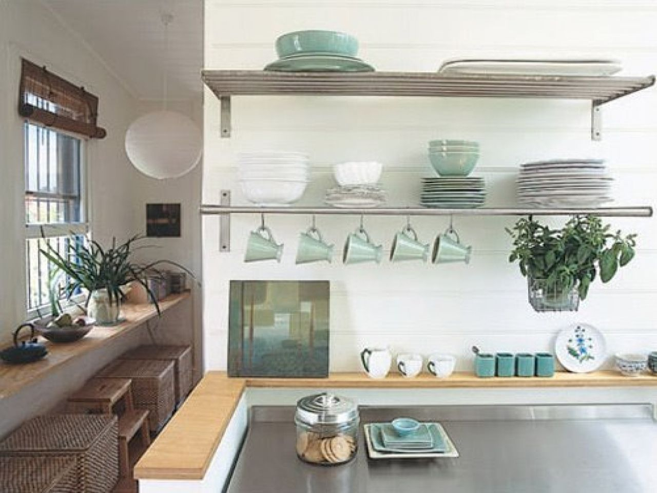 Kitchen Stainless Steel Floating Shelves Kitchen Rustic