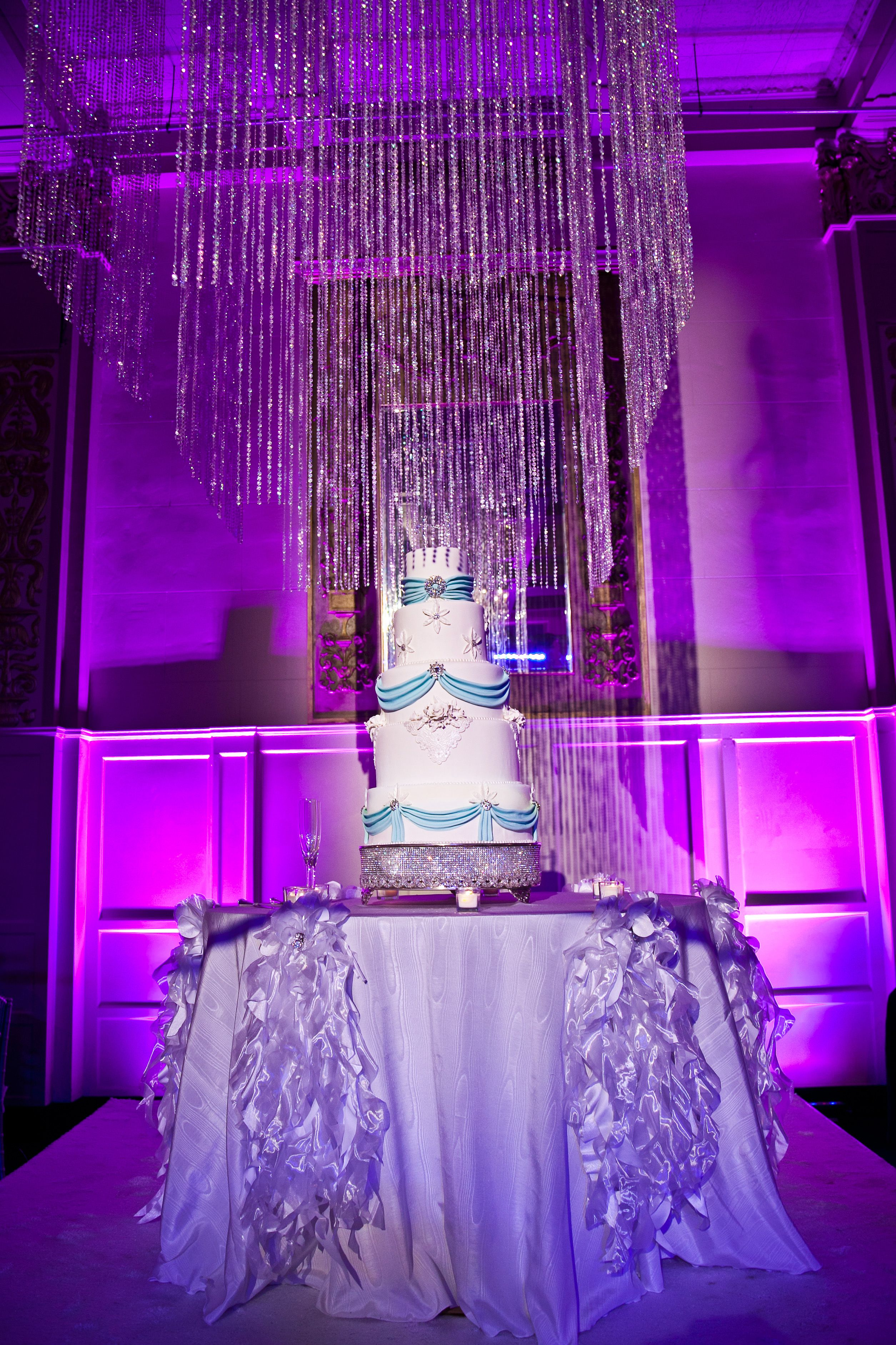 Elaborate wedding cake table by Southern Event Planners, Memphis, Tennessee.