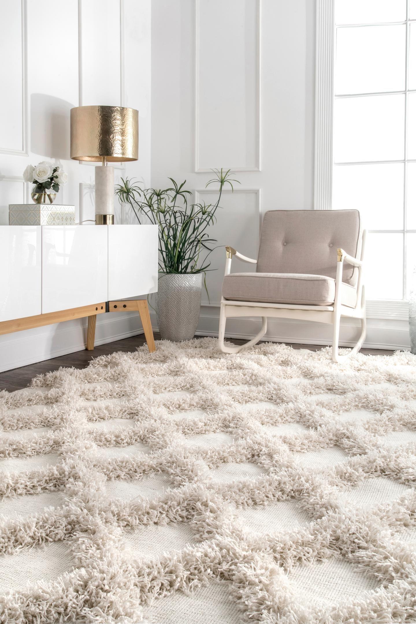 Pristina Shaggy Diamond Trellis Rug Rugs Homedecor Livingroom