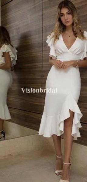 Simple VNeck Cap Sleeve Mermaid Side Slit Prom Dresses, VB03324 Simple VNeck Cap Sleeve Mermaid Side Slit Prom Dresses, VB03324 - Side slit prom dress, Prom dresses, Slit dress prom, Prom dresses two piece, White prom dress, Unique prom dresses - Simple VNeck Cap Sleeve Mermaid Side Slit Prom Dresses, VB03324 This  dress could be custom made, there are no extra cost to do custom size and color  Description of  dress1, Materialjersey,elastic silk like satin  2, Color picture color or other colors,there are 126 colors are available, please contact us for more