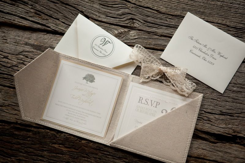 Romantic linen and lace invitations: now if you only had 20 people to invite to your wedding...