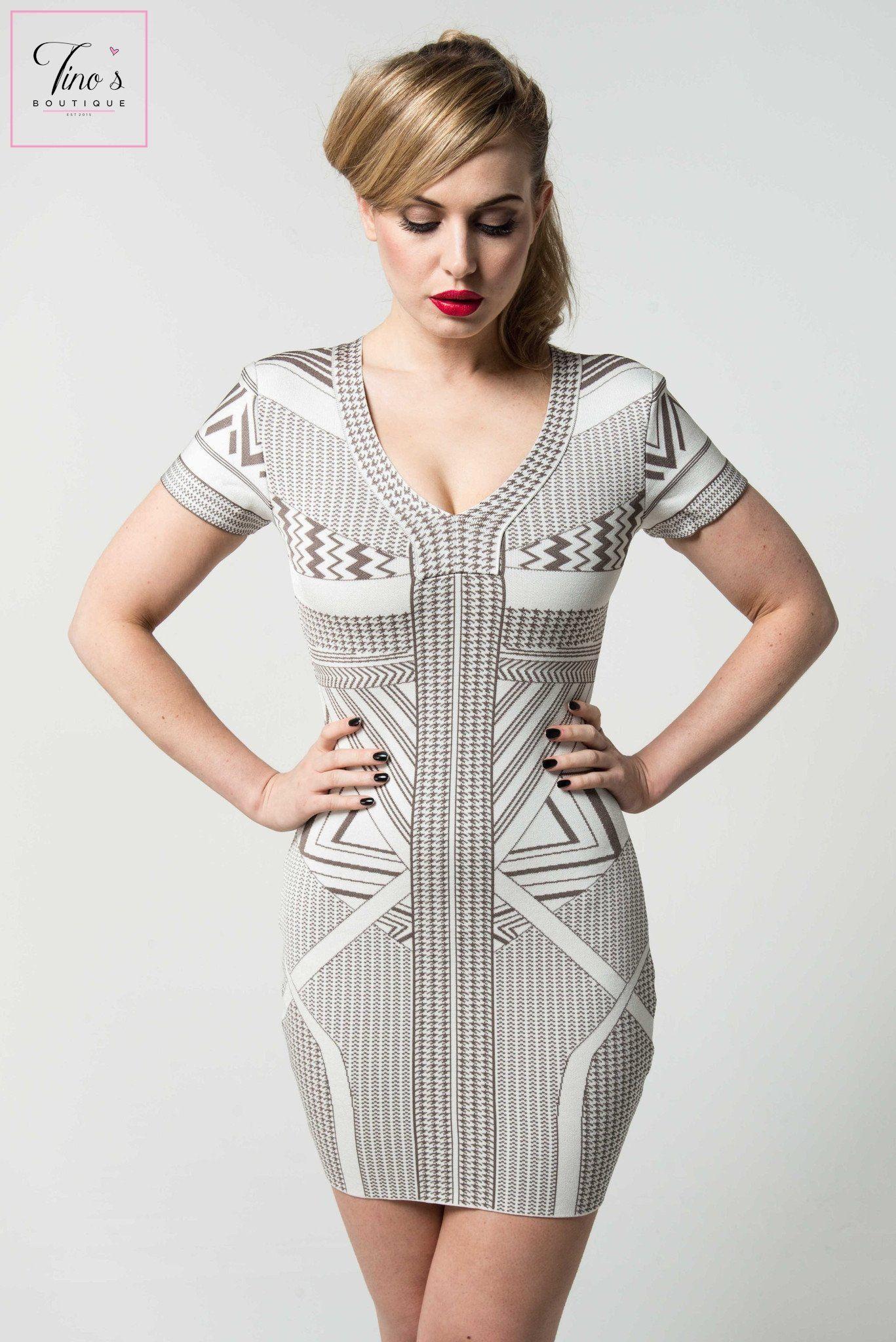 7ee69dcb27a  Isla  Jacquard Print Bandage Dress.