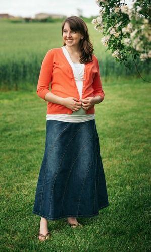 b5b0a996b62 Rainbow Denim Maternity Skirt
