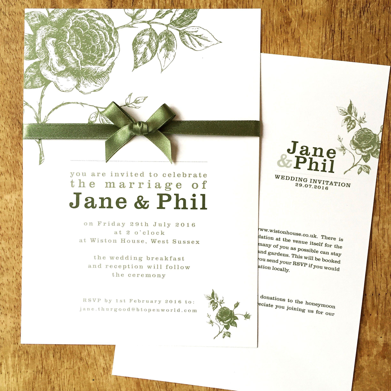 Vintage Rose wedding invitation + details card in sage green with ...
