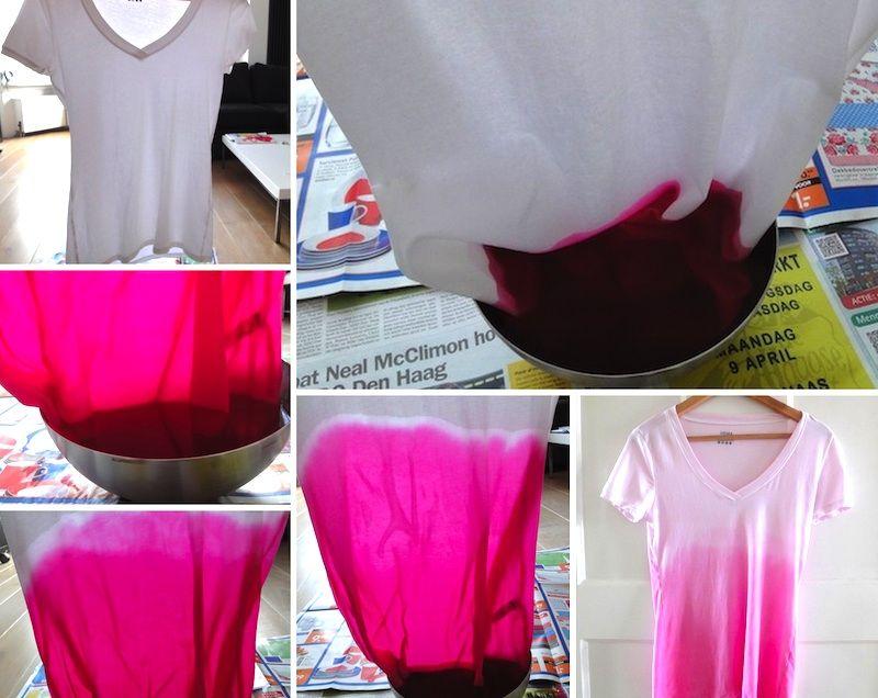 pink t shirt dip dye diy diy pinterest. Black Bedroom Furniture Sets. Home Design Ideas