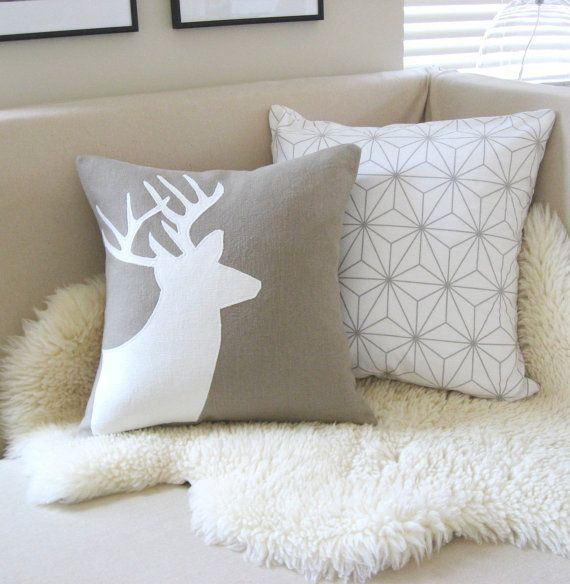 Modern Moose Pillows : Deer Head Pillow Cover, Sandstone Beige & Cream Buck Applique Silhouette, Antlers, Luxe Lodge ...