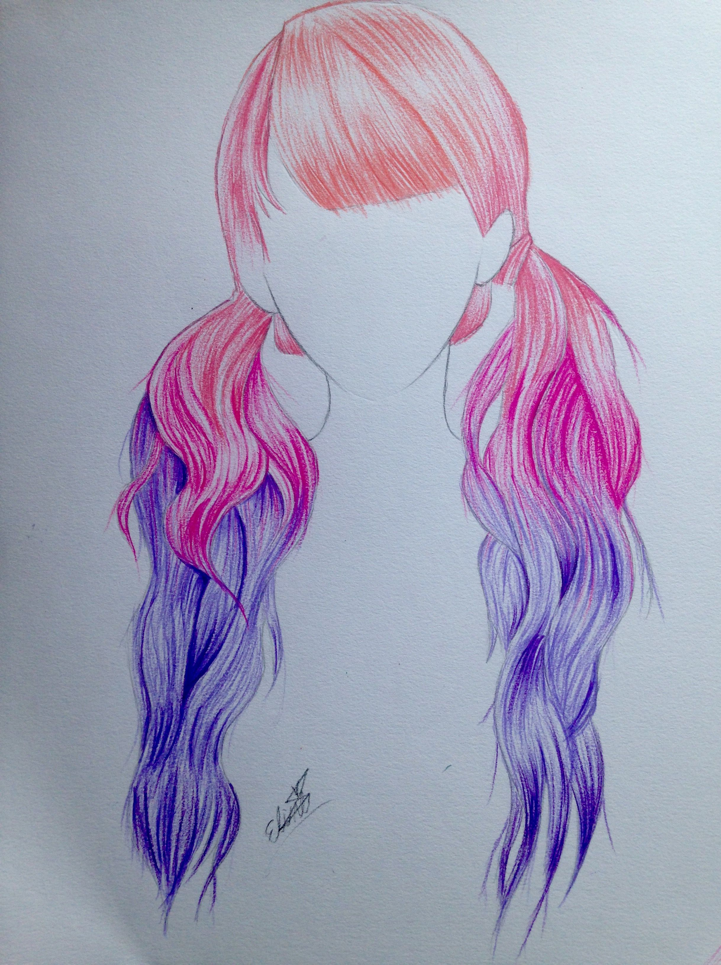 Pink Purple Ombre Hair Drawing How To Draw Hair Art Drawings Drawings