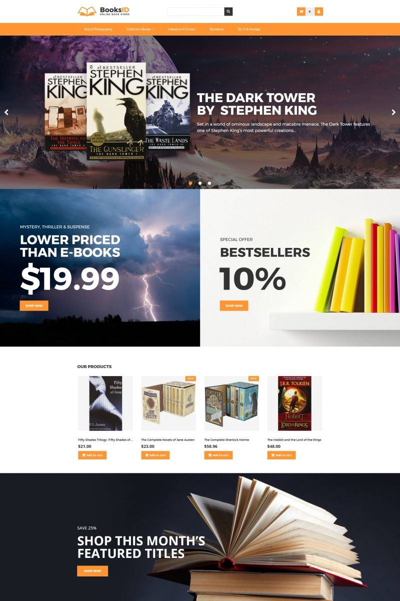 booksid online book store motocms ecommerce template backgrounds