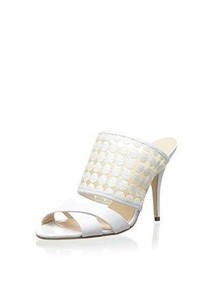Delman Women's Evitt Slide Sandal (White Embroider)
