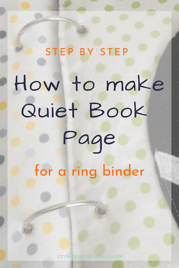 how to sew fabric quiet book page for a ring binder. Black Bedroom Furniture Sets. Home Design Ideas