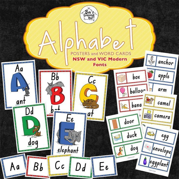 Alphabet posters and word cards australian curriculum