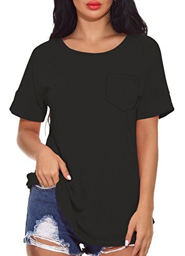 50091b8033cc Chvity Women's Summer Front Pocket Solid Loose Short Sleeve T-Shirt Blouse  Tops #clothing #tshirt #fashion