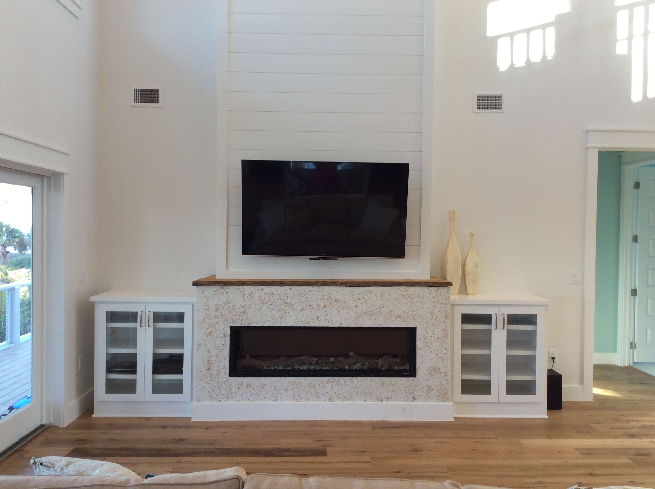 (Not finished yet). MantleMount, tv above linear fireplace