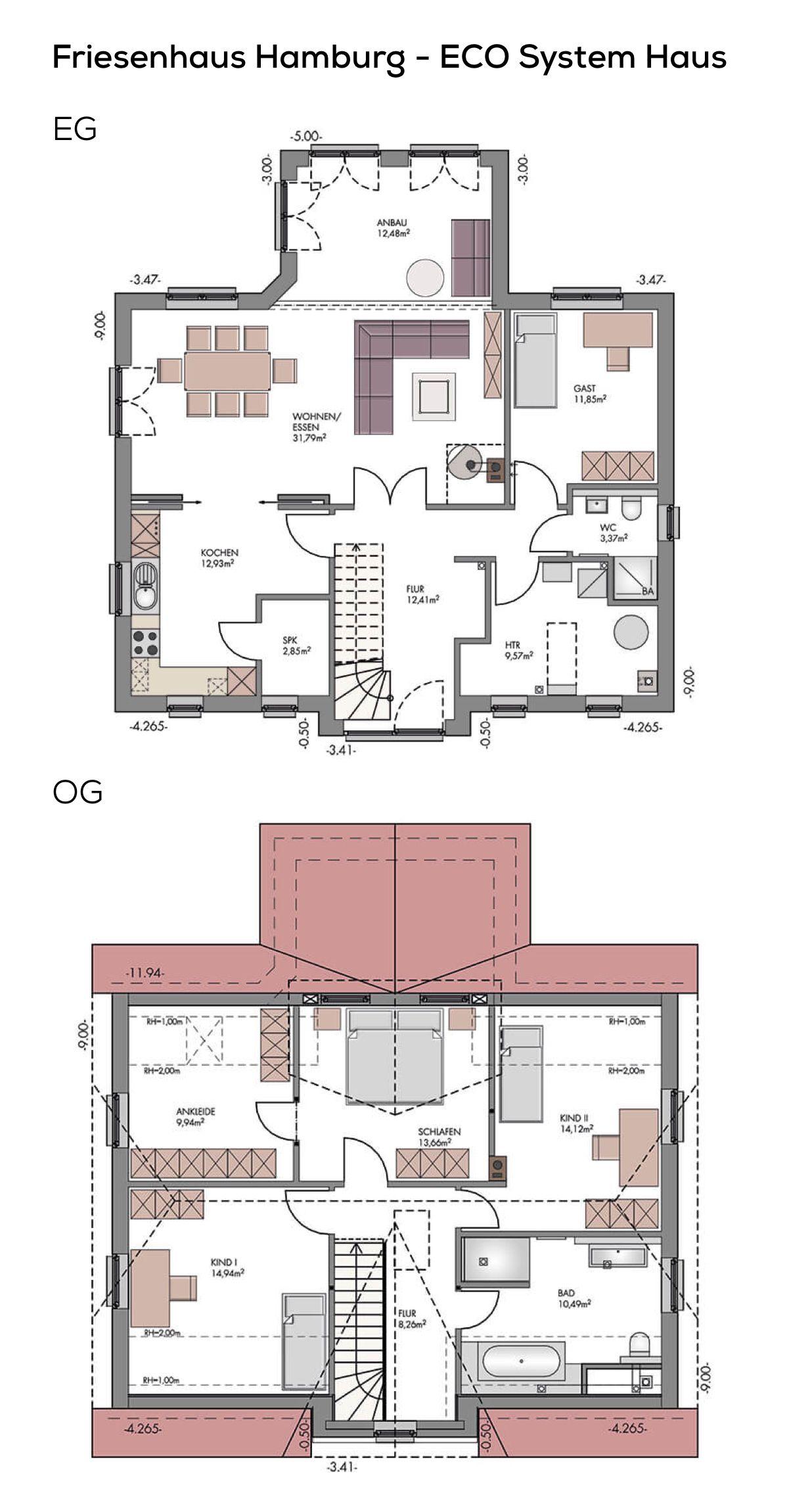 Grundriss Einfamilienhaus im Landhausstil mit Klinker