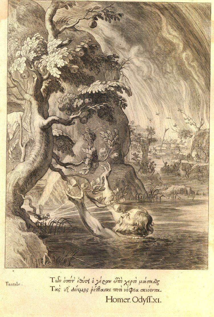 Mythological scene with Tantalus in a river trying to reach for some fruits on a tree at left, Hell in left background; after Abraham van Diepenbeeck; illustration on page 427 from Marolles' Temple des Muses (Paris, Nicolas Langlois: 1655). c.1635-1638 Etching and engraving #eching Mythological scene with Tantalus in a river trying to reach for some fruits on a tree at left, Hell in left background; after Abraham van Diepenbeeck; illustration on page 427 from Marolles' Temple des Muses (Paris, #eching