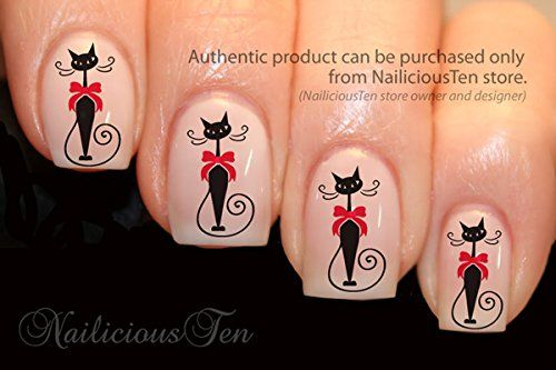 Stylish Cat with Red Bow Nail Art Water Transfer Decal 21pcs Nailicious Ten http://www.amazon.com/dp/B00CD0VNL0/ref=cm_sw_r_pi_dp_algrub1XZ13FQ