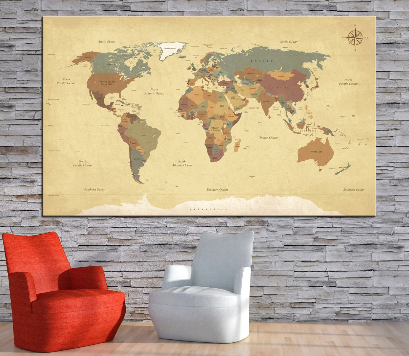 Large textured vintage world map whith countries names canvas print large textured vintage world map whith countries names canvas printextra large detailed world map gumiabroncs Choice Image