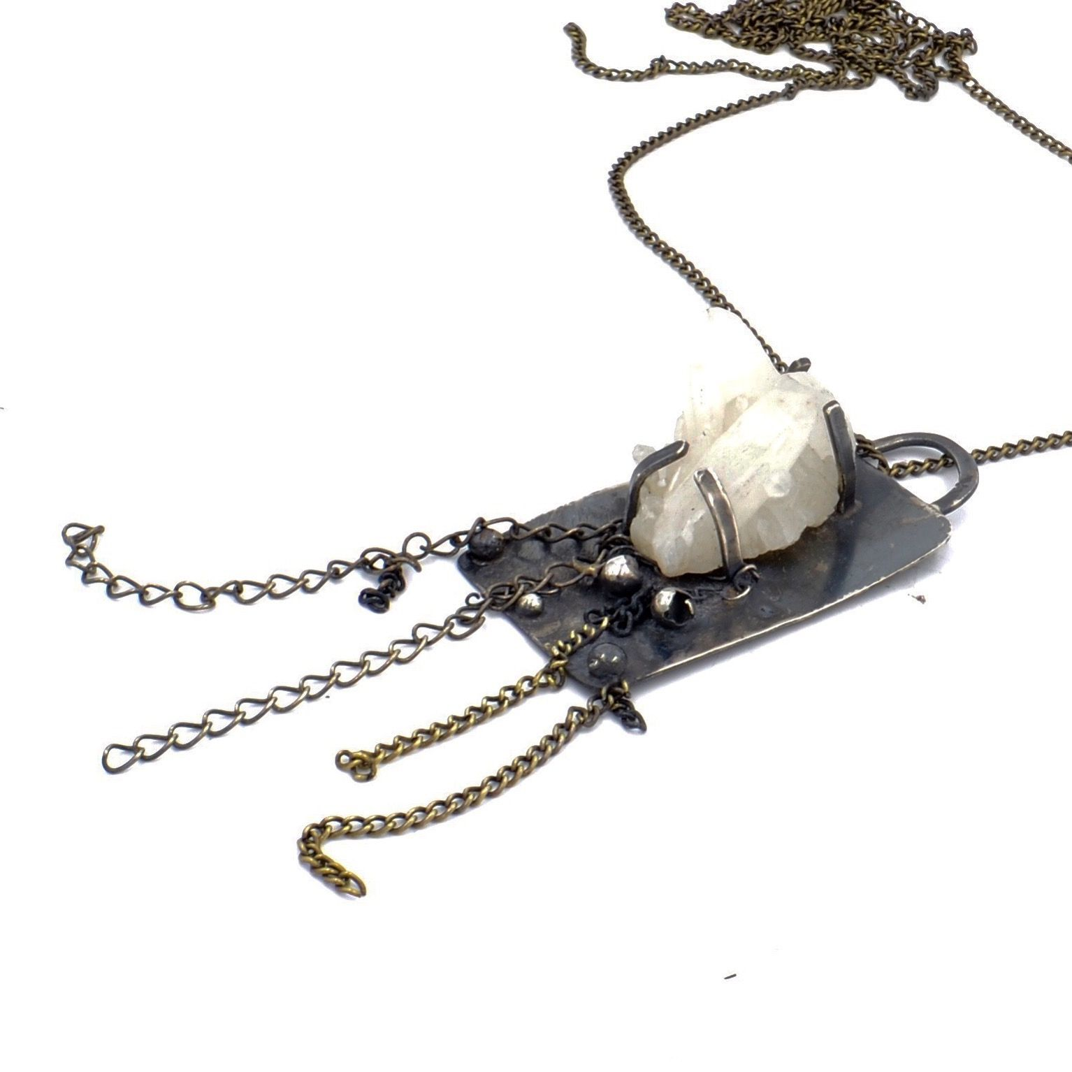 Oxidized sterling silver pendant necklace set with crystal clusters