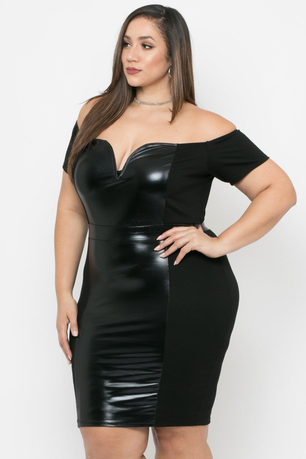 Plus Size Naomi Faux Patent Leather Bodycon Dress - Black | Erica ...