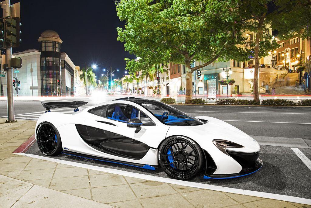 White Blue Mclaren P1 In Beverly Hills Super Cars Mclaren P1 Mclaren Cars