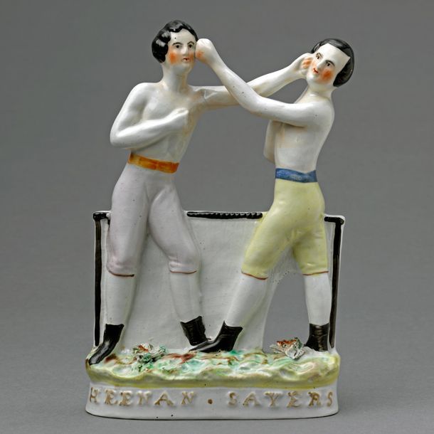 Flatback figure group of the boxers, Tom Sayers and John Carmell Heenan, about 1860. Museum no. C.26-1944. Bequeathed by Miss Helena Hil