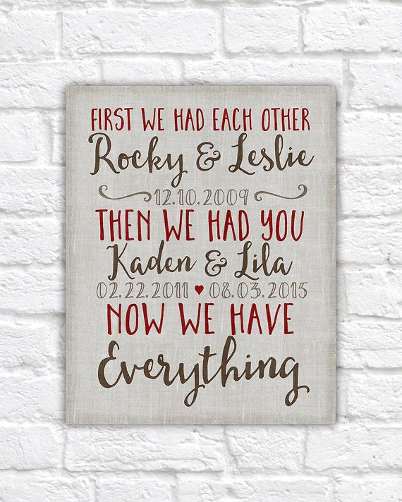 10 Year Wedding Anniversary Quotes: Important Dates, First We Had Each Other Wall Sign, Canvas