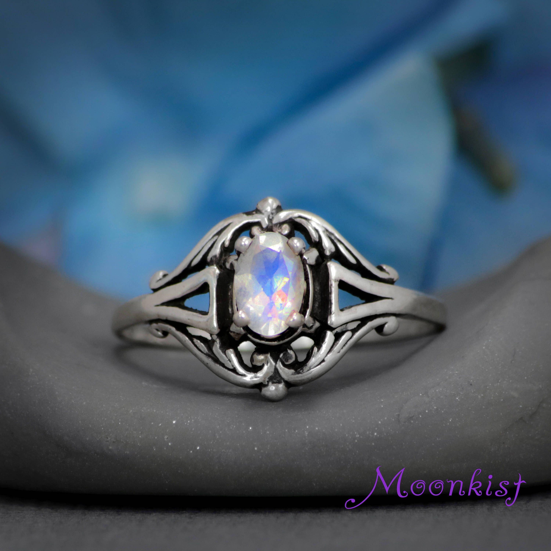 Oval Moonstone Engagement Ring, Edwardian Engagement Ring