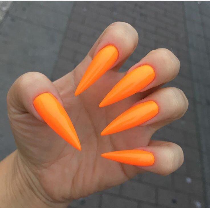 Fresh Summer Orange Long Stiletto Nails Long Stiletto Nails Classy Nail Designs Orange Acrylic Nails