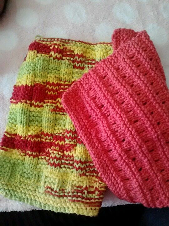 Hand knit dish towels...almost too cute to use!