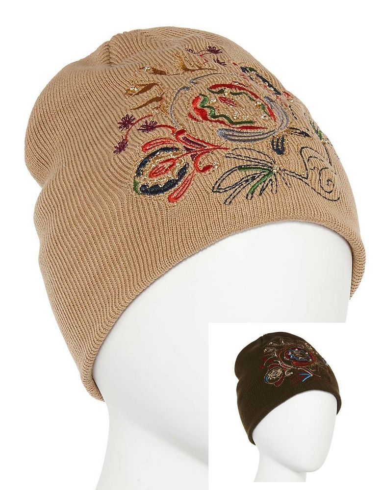 35fe4fd1b8f Mixit Womens Beanie Hat Solid W Embroidered Acrylic Wear 2 Ways One Size NEW