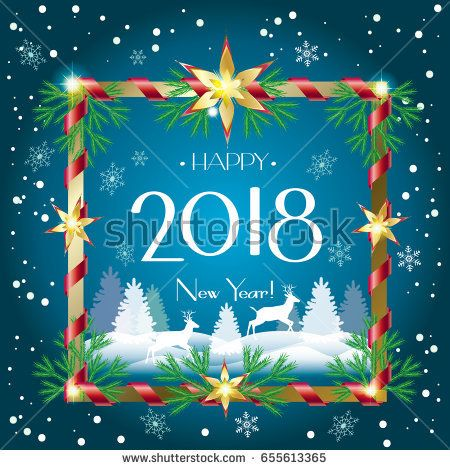 Merry christmas and happy new year greeting card with falling snow merry christmas and happy new year greeting card with falling snow sparkle reindeer snowflakes falling snow and fir tree christmas decoration m4hsunfo