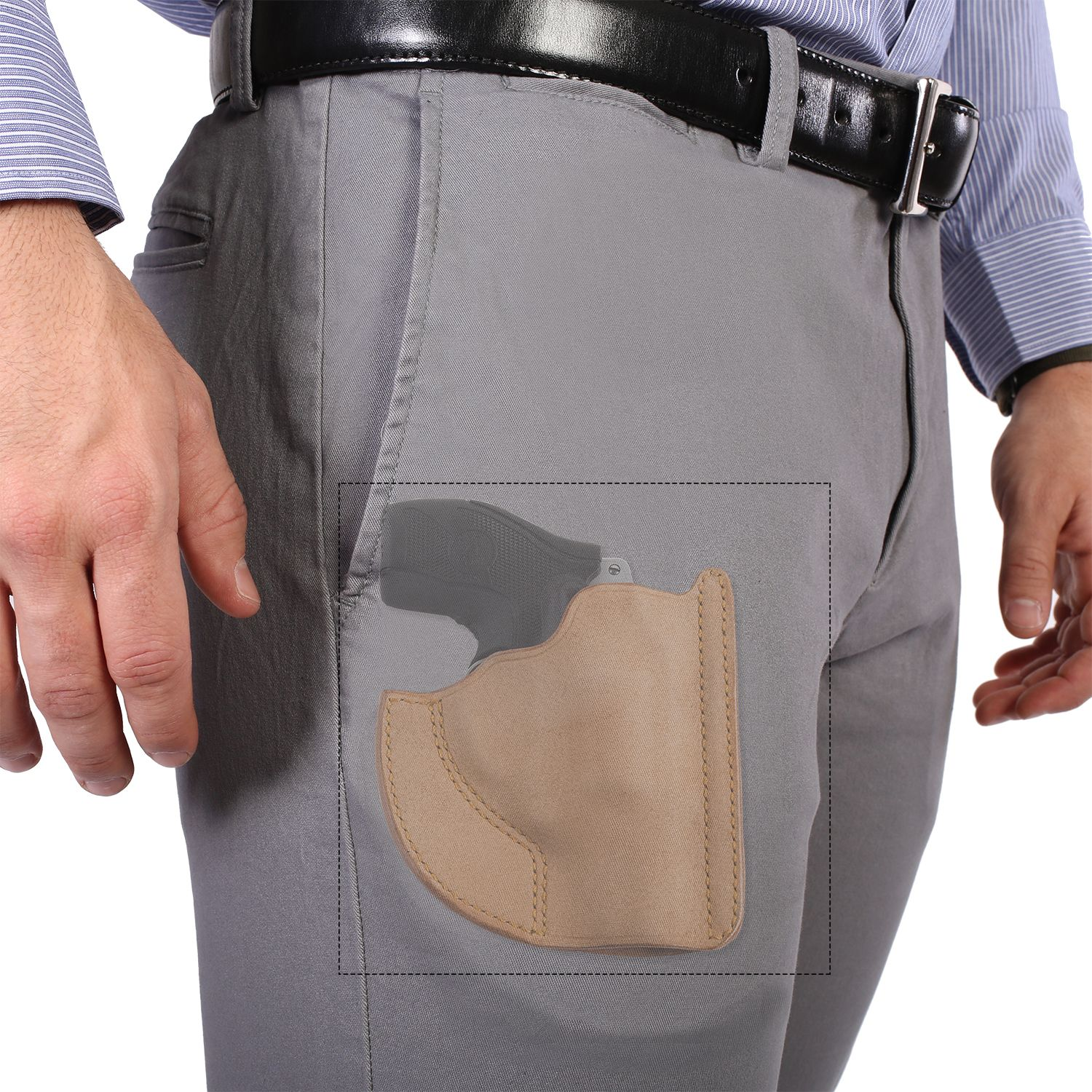 FRONT POCKET HORSEHIDE HOLSTER: While limiting the carrier