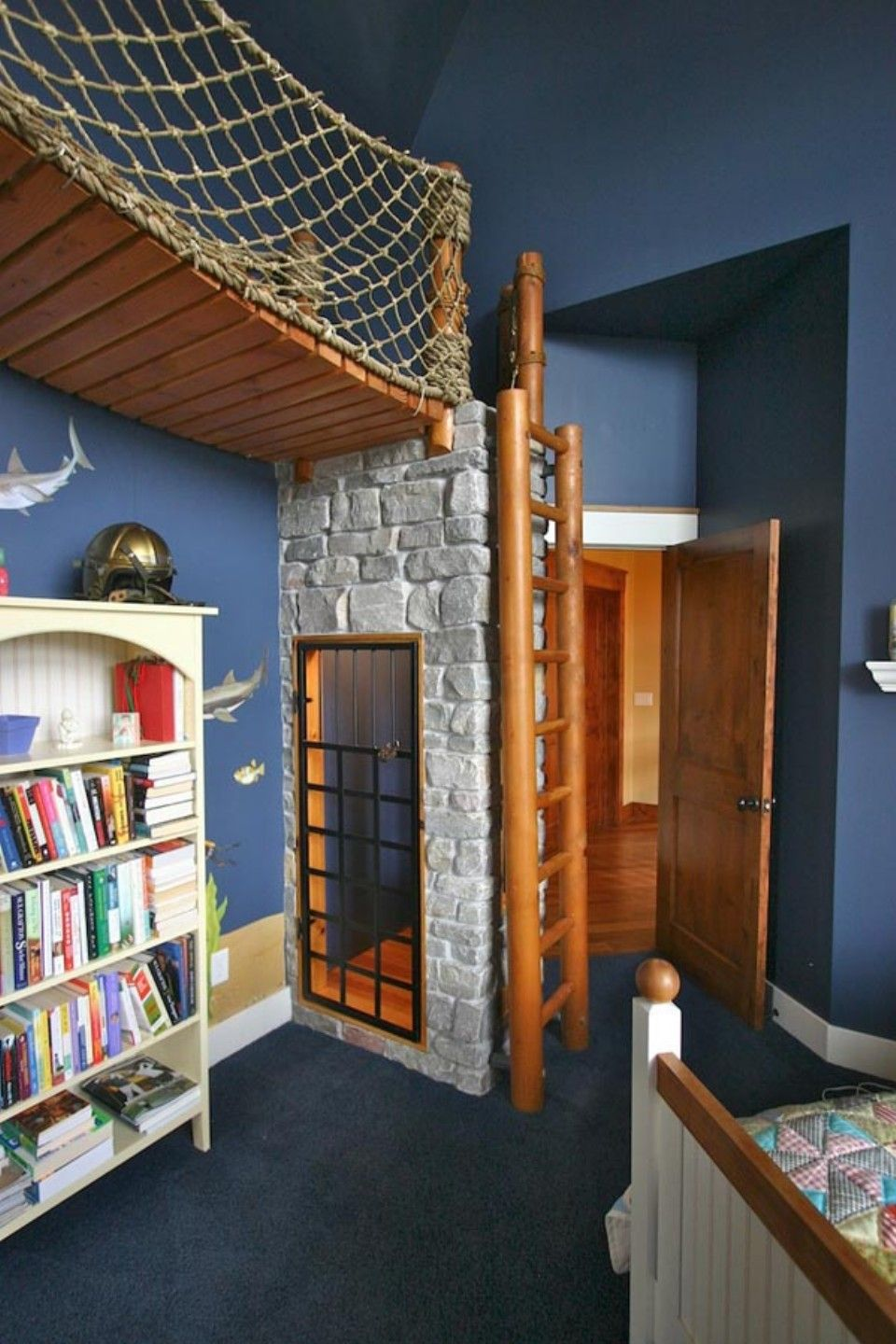 dark blue kids room vintage extraordinary kids room furniture for small spaces design ideas with astounding dark blue wall paint color and cool wood loft bridge also natural