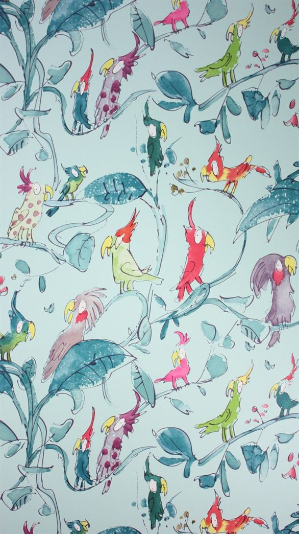 Cockatoos by Quentin Blake W6060 Wallpaper | Zagazoo Wallpaper | Osborne & Little Wallpaper