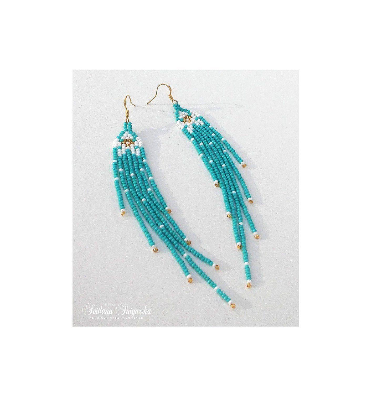 Blue White Earrings Tiffany Earrings Gold Turquoise Beaded Etsy Turquoise Bead Earrings Blue And White Earrings White Flower Earring