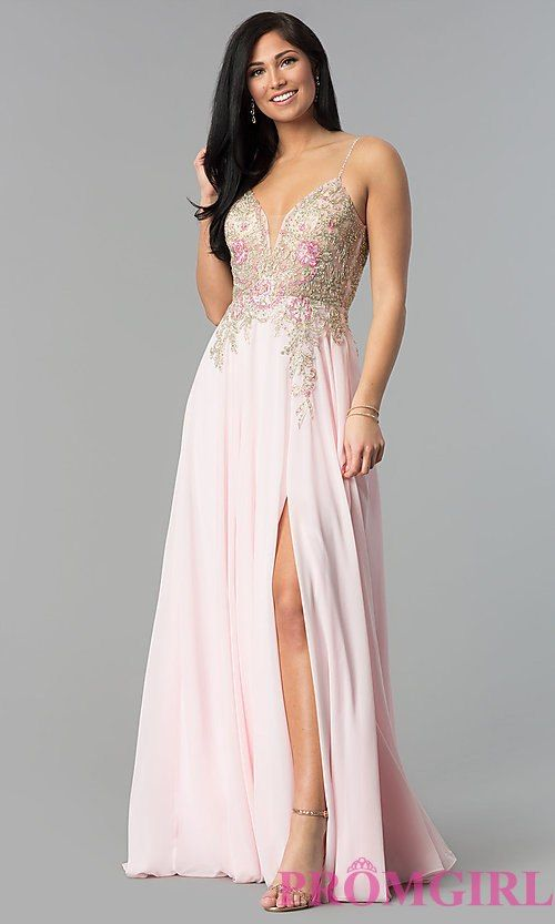 2651f67bc1c Image of long v-neck open-back prom dress with sheer bodice. Style  JO-JVN-JVN55885  Front Image