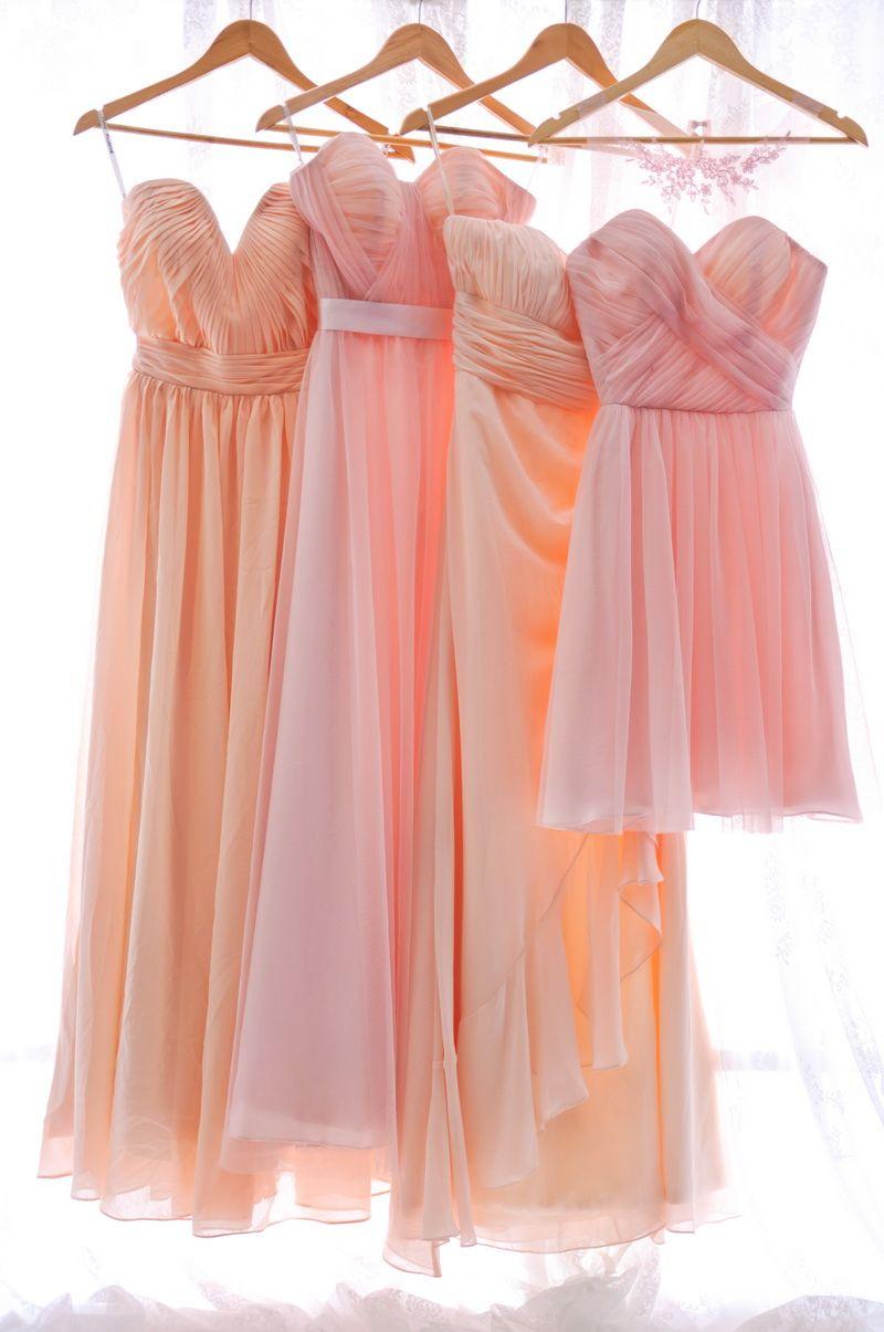 Pink Bridesmaid Dresses, Blush Peach Bridesmaid Gowns at ...