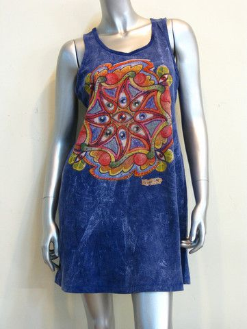 Mirror Design Womens Tank Dress Eye Star Blue