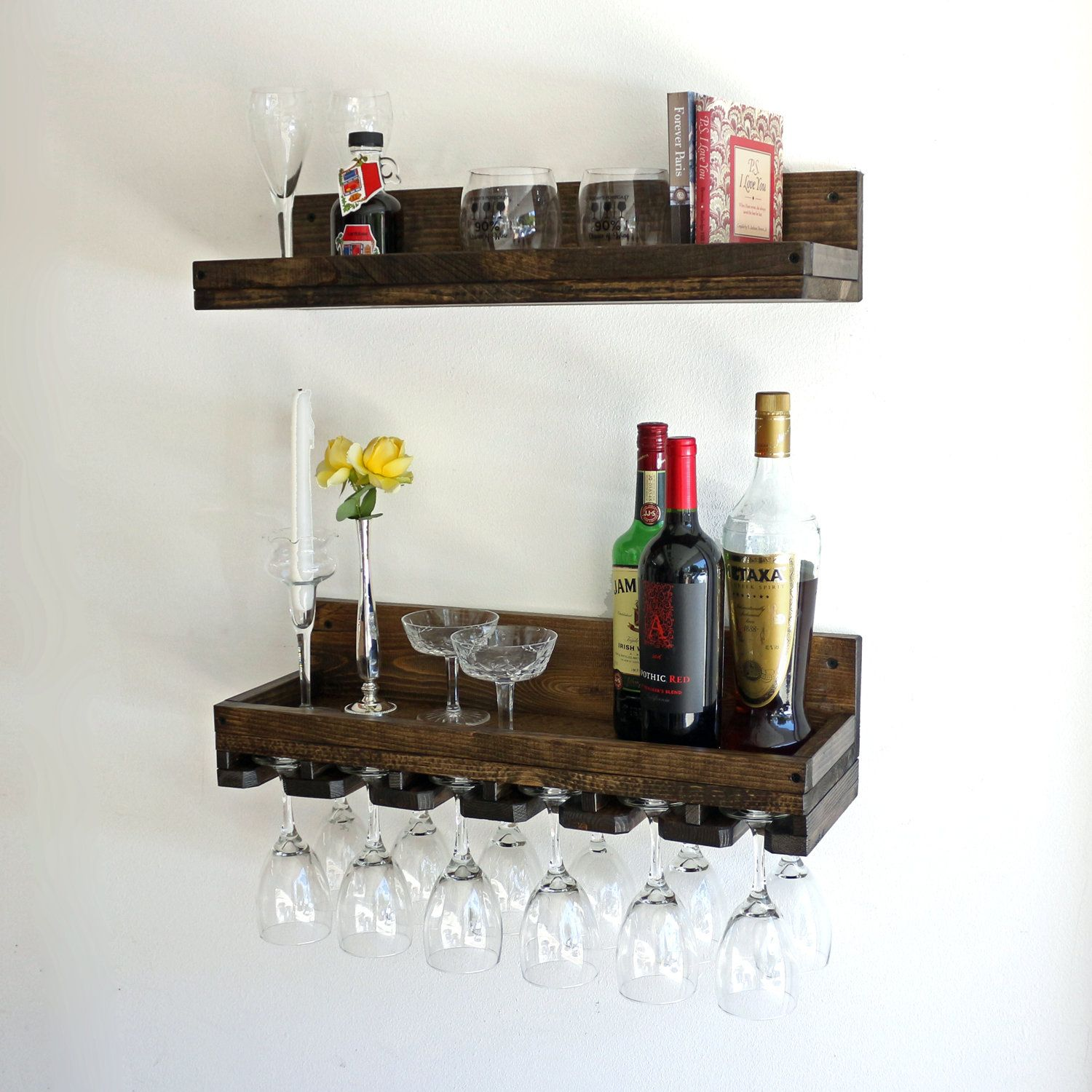 Rustic Wood Wine Rack Wall Mounted Shelf And Beveled Hanging Stemware Glass Holder Bar Shelf Organizer Modern Wall Wine Rack Wine Rack Wall Wood Wine Racks