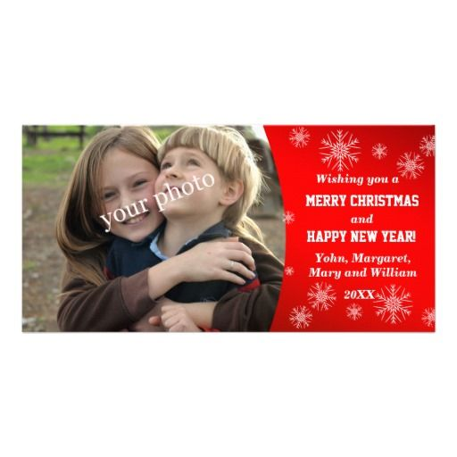 Christmas greetings on red background with snow photo cards