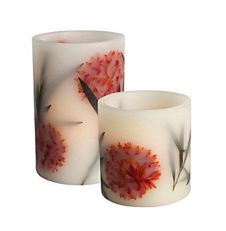 Gerson LED Flameless Embedded Botanical Candle at www.herbergers.com