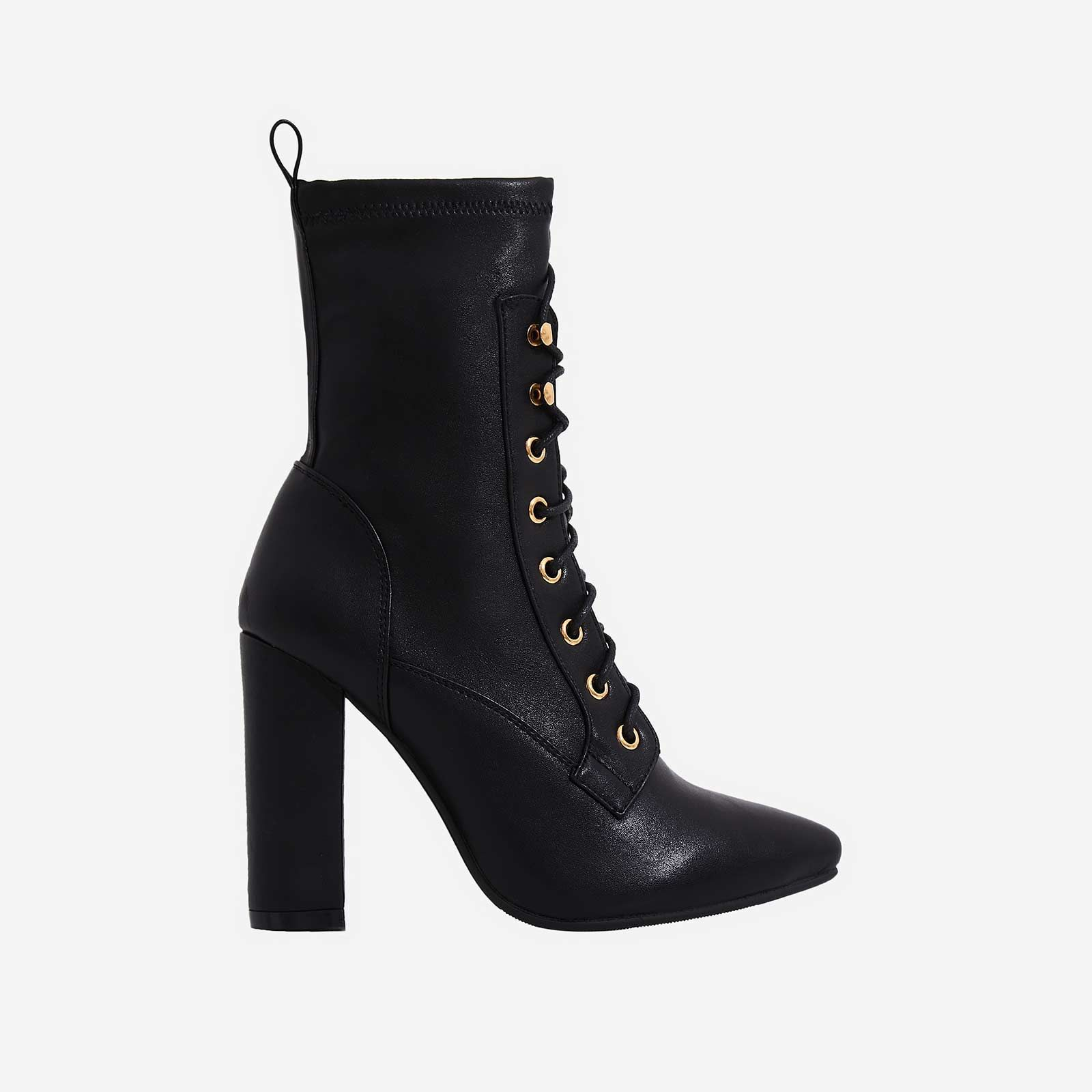 37ac33e7dedc Maud Lace Up Block Heel Ankle Boot In Black Faux Leather in 2019 ...