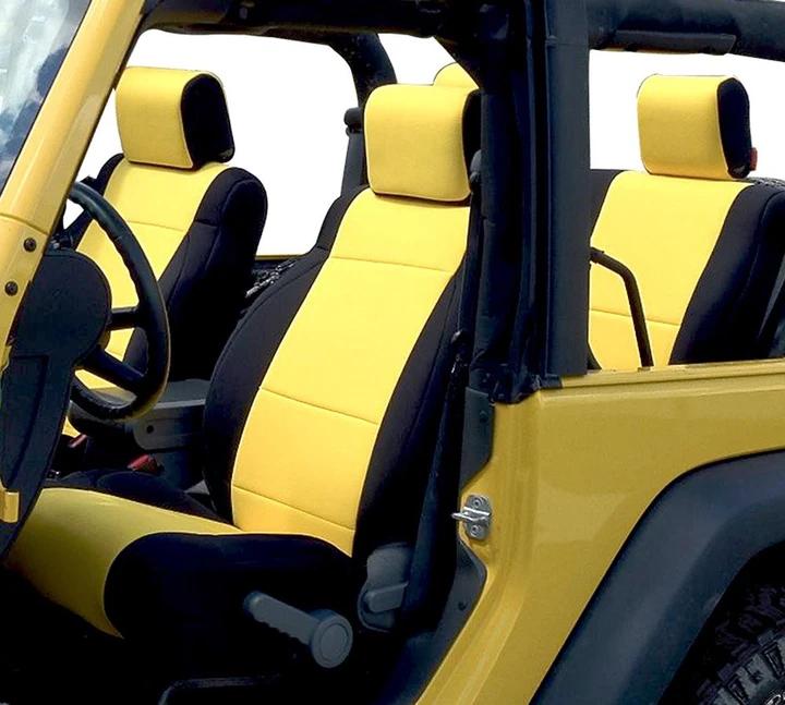 Neoprene Seat Cover Custom Fits Jeep Wrangler Jk 2007 17 In 2020 Neoprene Seat Covers Jeep Wrangler Seat Covers Jeep Wrangler Interior