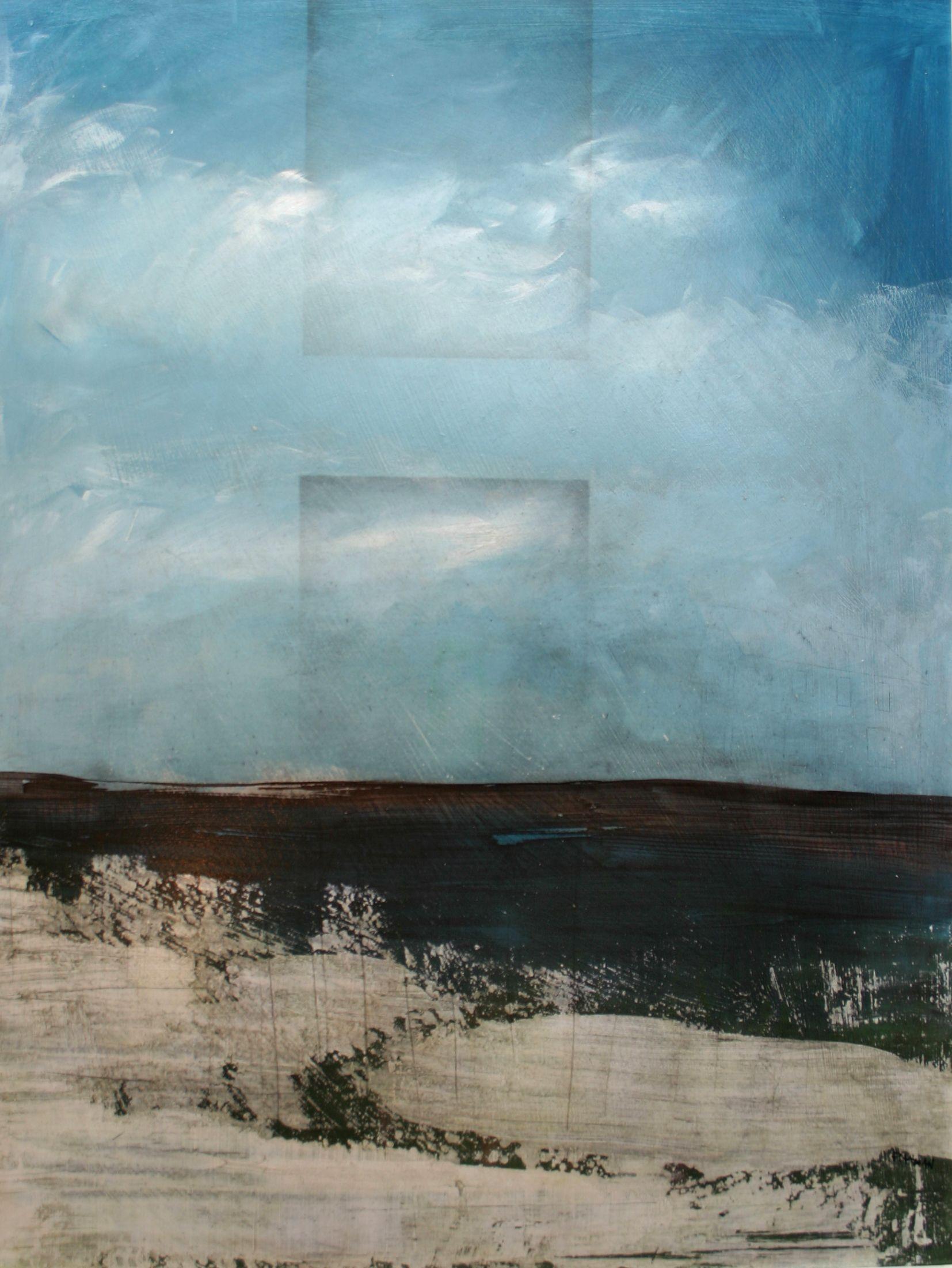 "Michael Pittman, Chthonic Spirit, mixed media on panel, 32"" x 24"""