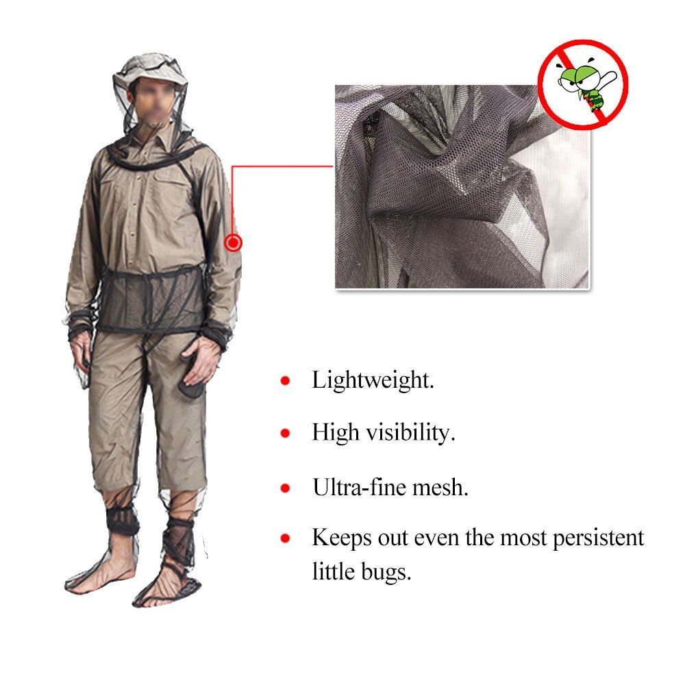 Ayamaya Bug Jacket Mesh Mosquito Suit With Hood Mesh Hooded Suits Unisex Mosquito Net Repellent Clothing Ultrafine Mesh Insect Pr Repellent Mesh Pants Fish Man