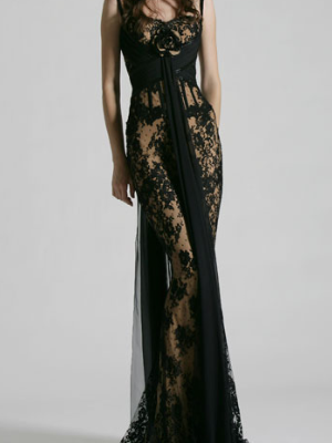 Zuhair Murad Strapless Lace Overlay Gown