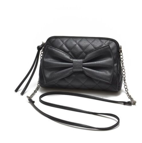 This listing is for a #black bag only. If you would like to purchase the beige bag, please check out our other listings.  This #corssbody bag was named #Taffy because it's just so girly and sweet. Don't you just love bows? They make everything look cuter. The bag has half #faux #leather and half chain strap. #Handbag measurements are 9.5L x 1.5W x 7.5H.     Buy the Taffy bag here http://www.ebay.com/sch/handbagfashionusa/m.html?_nkw=&_armrs=1&_ipg=&_from=