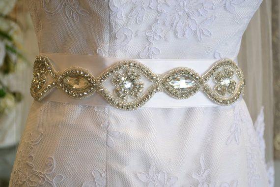 Beaded Bridal Sash ~ Beaded Bridal Belt ~ Silver Bridal Belt ~ Silver Bridal Sash ~ Pewter Bridal Belt ~ Pewter Bridal Sash ~ www.couturesbylaura.etsy.com