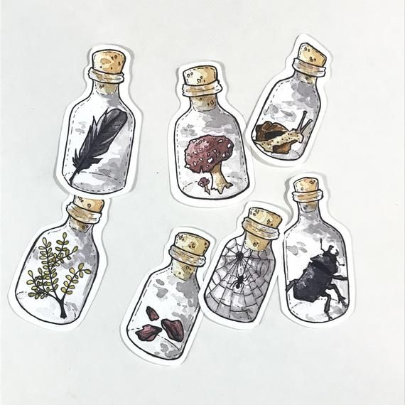 Halloween Stickers Aesthetic.Waterproof Aesthetic Stickers Set Of 7 Potion Bottles