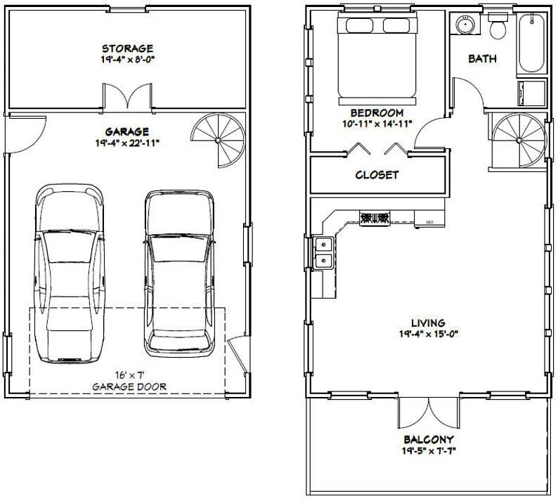 20x32 House -- 1 Bedroom 1 Bath -- 785 sq ft -- PDF Floor ...